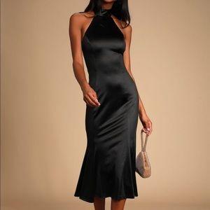Could It Be Magic Black Satin Halter Midi Dress